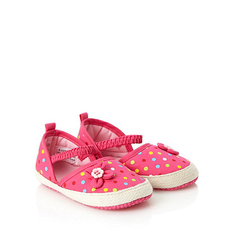 bluezoo - Babies pink spotted espadrille booties