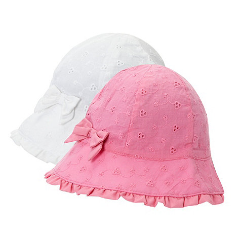 bluezoo - Babies pack of two pink and white broderie sun hats