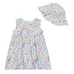 bluezoo - Baby girls' white floral print dress and sun hat
