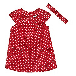bluezoo - Baby girls' red polka dot print dress and headband