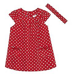 bluezoo - Baby girls' red polka dot print dress and headband