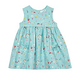 bluezoo - Baby girls' aqua blue bunny print dress
