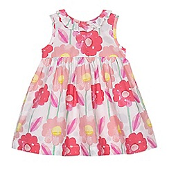 bluezoo - Baby girls' pink floral woven dress and sun hat