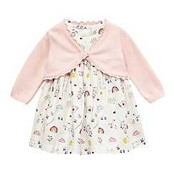 bluezoo - Baby girls' white and pink printed dress and cardigan set