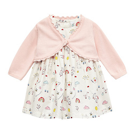 bluezoo - Baby girls+ white and pink printed dress and cardigan set