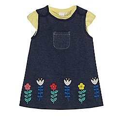 bluezoo - Baby girls' yellow butterfly pointelle top and navy pinafore set
