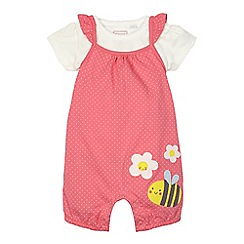 bluezoo - Baby girls' pink bumblebee applique dungarees and top set