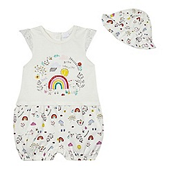 bluezoo - Baby girls' white rainbow print romper suit and hat set