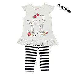 bluezoo - Baby girls' white cat print tunic, striped leggings and headband set