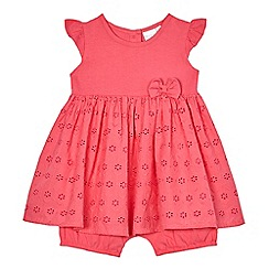 bluezoo - Baby girls' pink broidery mock dress romper suit