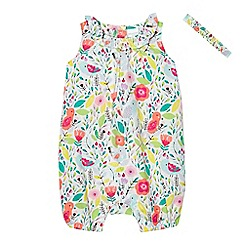 bluezoo - Baby girls' multi-coloured floral print romper suit