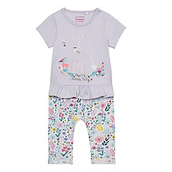 bluezoo - Baby girls' purple bunny top and leggings set