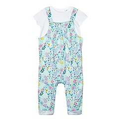 bluezoo - Baby girls' multi-coloured floral print dungarees and t-shirt set