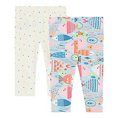 bluezoo - Pack of two baby girls' multi-coloured printed leggings