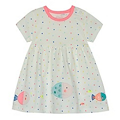 bluezoo - Baby girls' white spotted fish applique dress