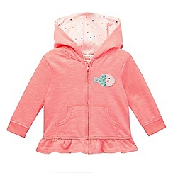 bluezoo - Baby girls' pink fish applique zip hoodie