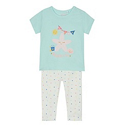bluezoo - Baby girls' light green beach applique top and spotted leggings set