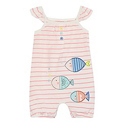 bluezoo - Baby girls' white and pink striped fish applique romper suit