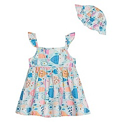 bluezoo - Baby girls' multi-coloured fish print dress and hat set