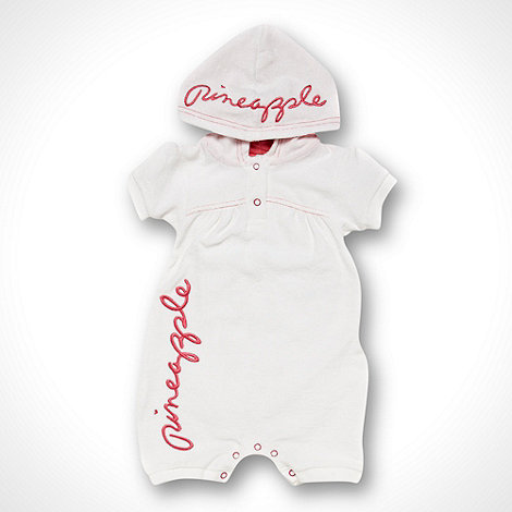 Pineapple - Babies white towel hooded romper suit
