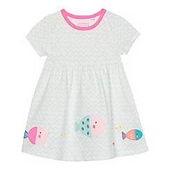 bluezoo - Baby girls' white fish applique dress
