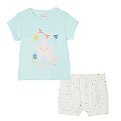 bluezoo - Baby girls' pale green beach applique top and spotted trousers set