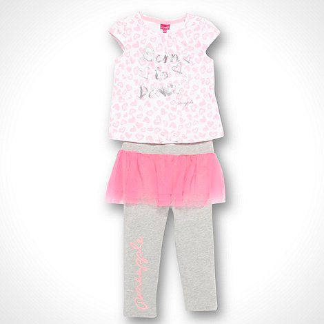 Pineapple - Girl+s pink patterned t-shirt and ruffled leggings set