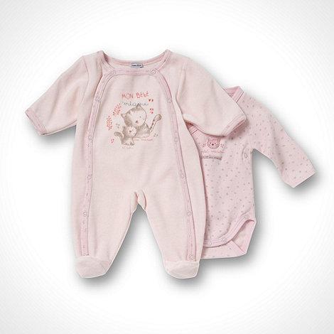 Les bebes sont comme ca - Girl+s pink newborn romper suit pack