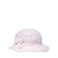 bluezoo - Pack of two baby girls' light pink and white broderie sun hats