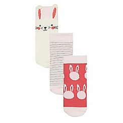 bluezoo - Baby girls' pack of three pink bunny print socks