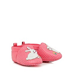 bluezoo - Baby girls' pink leather bunny applique booties