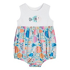 bluezoo - Baby girls' multi-coloured fish print romper suit