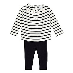 J by Jasper Conran - Baby girls' navy embellished top and leggings set