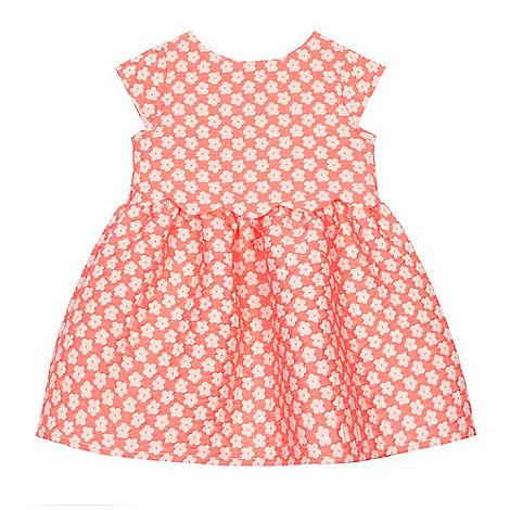 J by Jasper Conran - Baby girls+ light orange textured flower dress