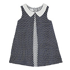 J by Jasper Conran - Baby girls' navy spotted dress