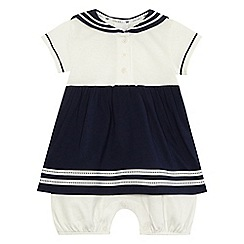 J by Jasper Conran - Baby girls' navy sailor romper dress