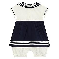 J by Jasper Conran - Baby girls' navy sailor romper dress
