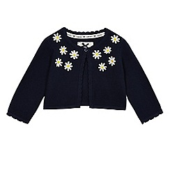 J by Jasper Conran - Baby girls' navy daisy knit cardigan