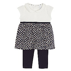 J by Jasper Conran - Baby girls' navy printed dress and leggings set