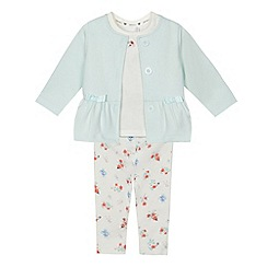 J by Jasper Conran - Baby girls' aqua quilted jacket, t-shirt and leggings set