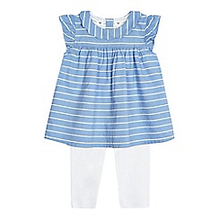 J by Jasper Conran - Baby girls' blue striped tunic and leggings set