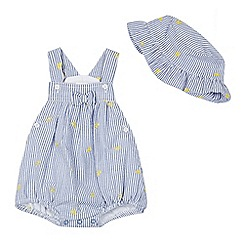 J by Jasper Conran - Baby girls' blue striped lemon applique dungarees and sun hat set