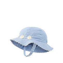 J by Jasper Conran - Baby girls' blue daisy applique sun hat
