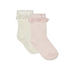 J by Jasper Conran - Baby girls' pink and cream frilled socks