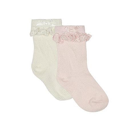 J by Jasper Conran - Baby girls+ pink and cream frilled socks