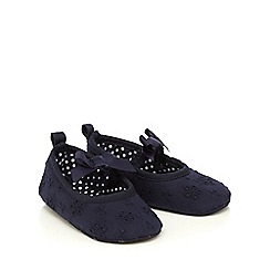 J by Jasper Conran - Baby girls' navy broderie shoe