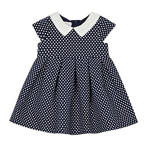 J by Jasper Conran - Baby girls+ navy Peter Pan collar empire dress