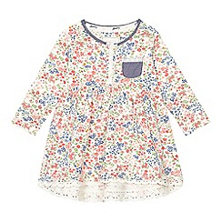 Mantaray - Baby girls' multi-coloured floral print jersey dress