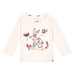 Mantaray - Baby girls' pink bunny applique top