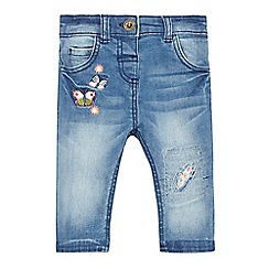 Mantaray - Baby girls' blue butterfly embroidered jeans